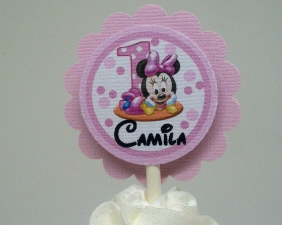 MINNIE MOUSE 1ST BIRTHDAY TOPPER AND 18 CUPCAKE TOPPERS SET