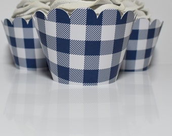 Blue Gingham Buffalo Plaid Cupcake Wrappers... Fully Assembled...set of 12.. Baby Shower, Birthday, Barnyard Party, Farm Party, Tractor, Boy