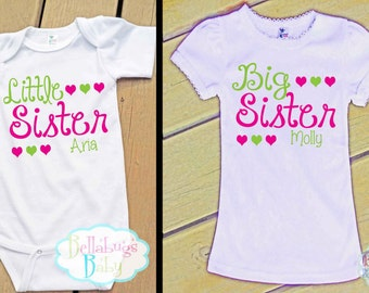 Big Sister Little Sister Outfit - Bodysuit or Tshirt - Photo prop - Newborn