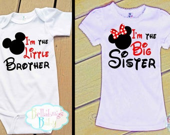 Mouse Big Sister Little Brother Outfit - Bodysuit or Tshirt - Photo prop -Disney - Newborn