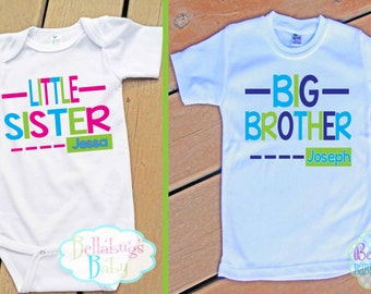 Big Brother Little Sister Outfit - Bodysuit or Tshirt - Photo prop - Newborn