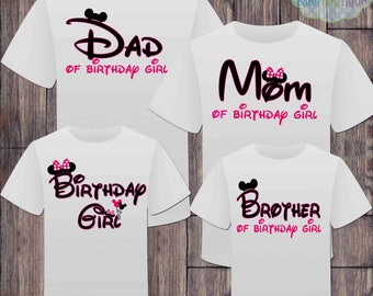 Matching Disney Family Birthday Girl Tshirts - Mickey Minnie Mouse Birthday Girl - Disney Inspired - Matching Birthday Shirts - Minnie Mouse