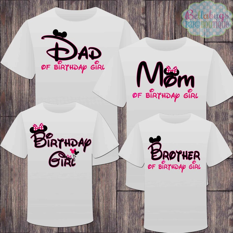 d3ae57cfab092 Matching Disney Family Birthday Girl Tshirts Mickey Minnie | Etsy