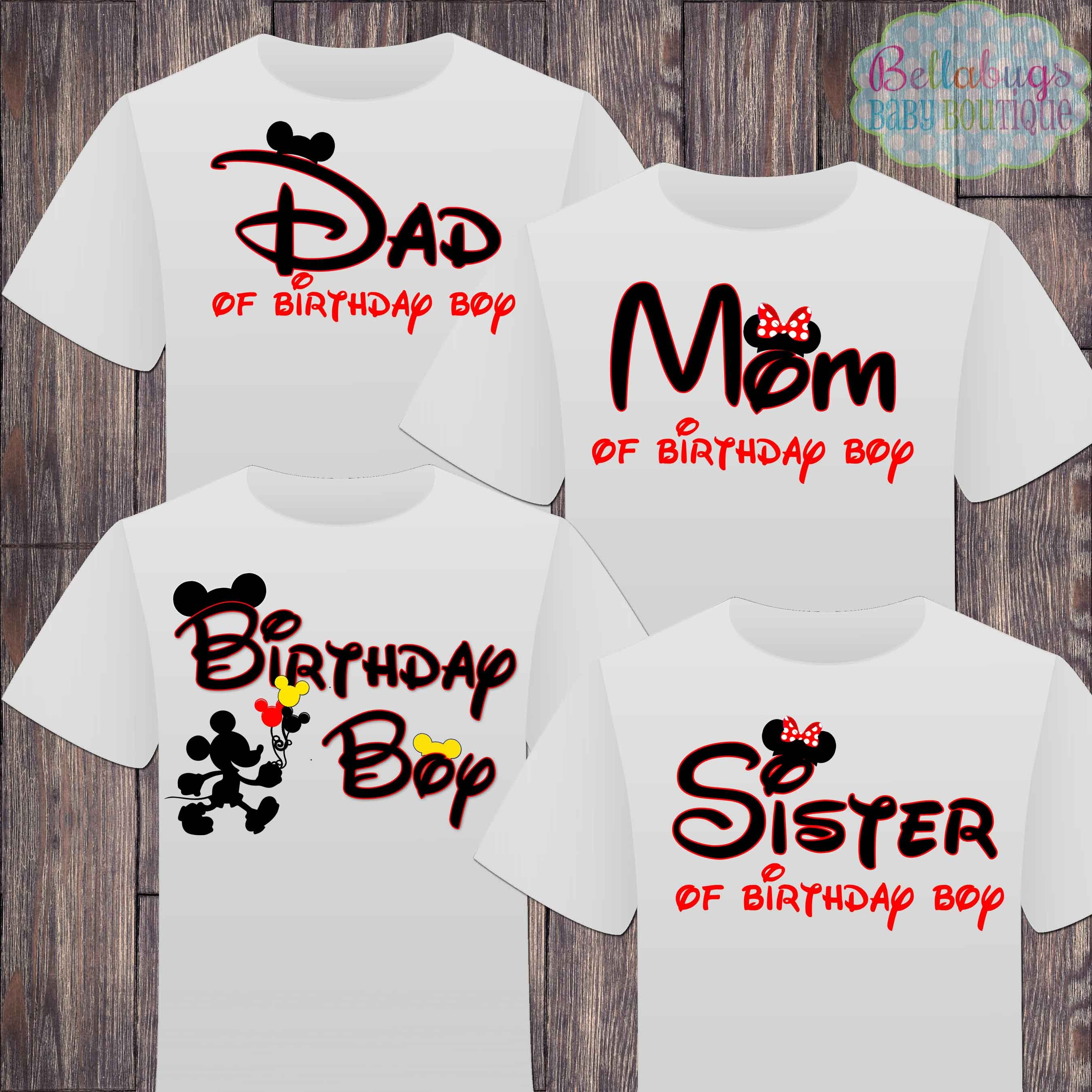 Matching Disney Family Birthday Boy Tshirts Mickey Mouse