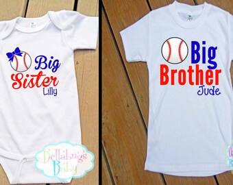 Big Brother Little Sister Baseball Outfit - Bodysuit or Tshirt