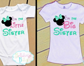 Minnie Mouse Big Sister Little Sister Outfit - Bodysuit or Tshirt - Photo prop - Newborn