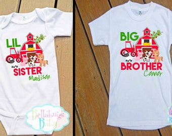 Farm Big Brother Little Sister Outfit - Bodysuit or Tshirt - Photo prop - Newborn