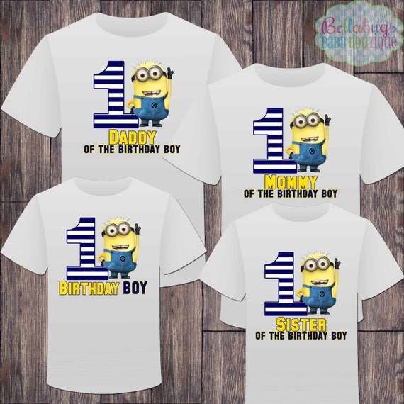 Matching Minion Family First Birthday Boy Tshirts Matching Etsy