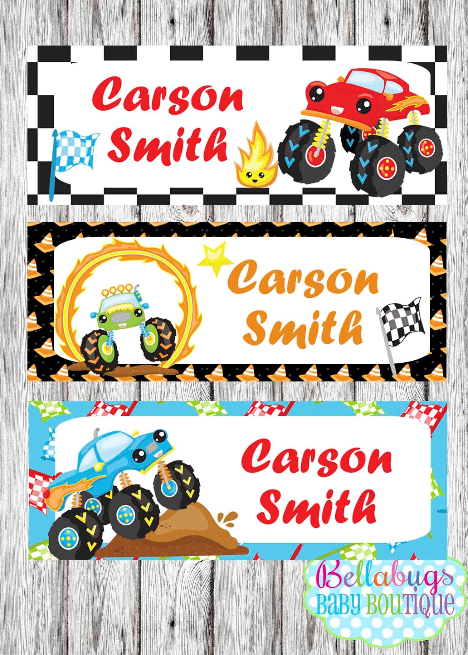 monster trucks name labels 30 labels daycare labels | etsy