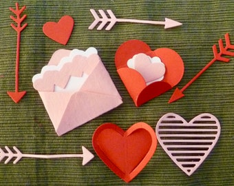 DIY Embellishment Kit 1 - 3 Dozen Sealed with A Kiss Stampin' Up! Die Cuts Small Love Notes Lunchbox BOGO Sequins Heart Envelopes Arrows