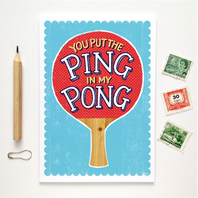 Funny Ping Pong Card  Funny Valentines Card  Funny Love Card image 0