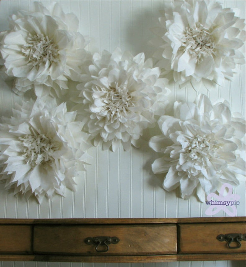 Giant Paper Flowers Wedding: PURE LOVE. 5 Giant Paper Flowers Hanging Wall Flower White
