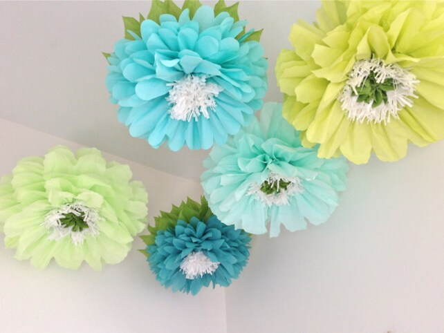 Fresh cut 5 giant hanging paper flowers baby shower etsy image 0 mightylinksfo