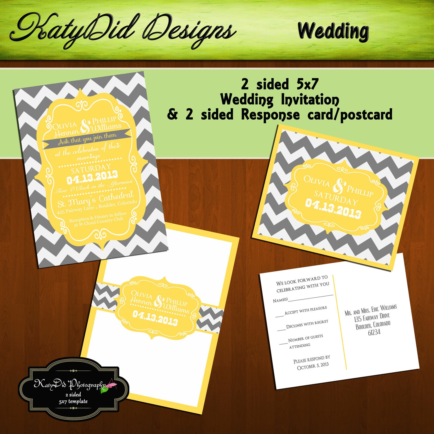 INSTANT DOWNLOAD Yellow And Grey Chevron X Wedding - 2 sided postcard template