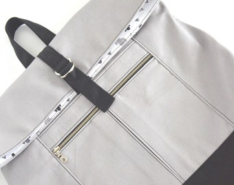 Backpack women Canvas Laptop backpack Roll top Gift for her Gift for women Gifts for mom Birthday gift Rucksack Grey Travel bag Book bag