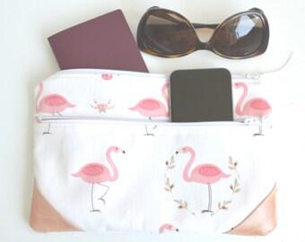Flamingo Passport holder Passport wallet Travel Wallet Minimalist wallet Gift for her Bridesmaid gift Gift for women Travel gift Clutch