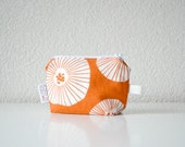 Small Zipper Pouch - Coin Purse - White Poppies on Orange