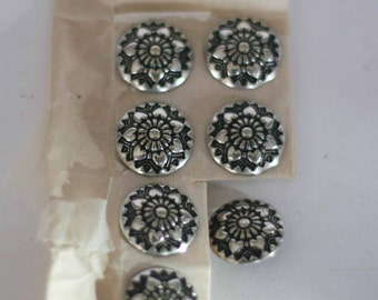 Inital B by V 7 Vintage Silver Buttons W Gesch