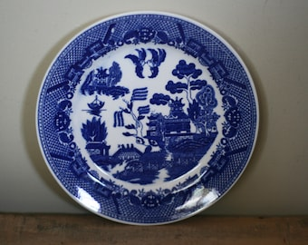 vintage blue willow dinner plate made in japan