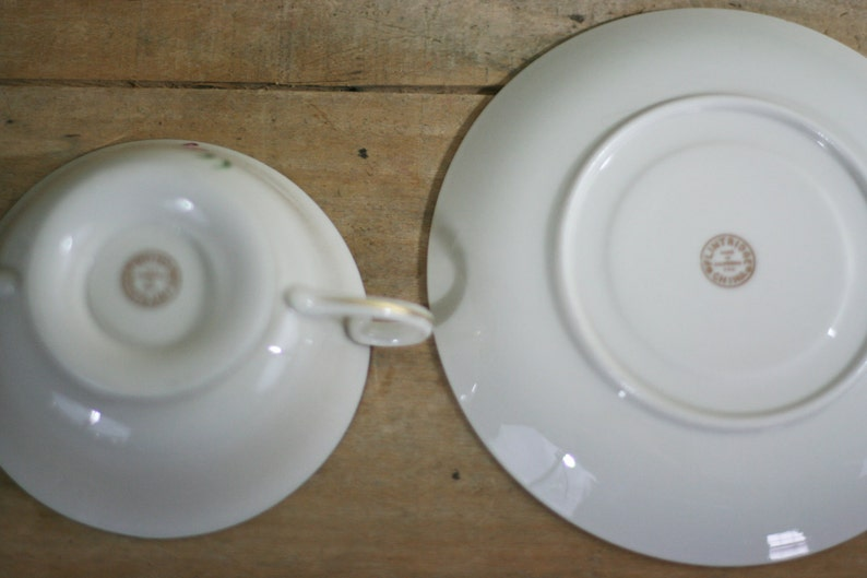 vintage flintridge china soup bowls with under plate made in california