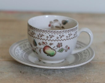 vintage cup and saucer fruit sampler made in england by johnson bros.