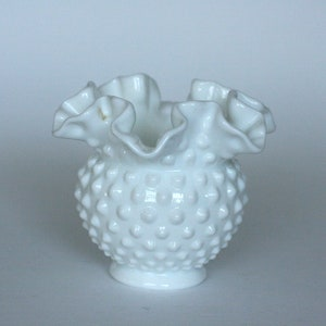 In Careful Vintage Fenton Silver Crest Milk Glass Footed Crimped Ruffle Edge Bowl Dish Superior Quality