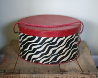 vintage zebra hat box
