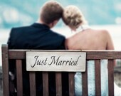Carved Just Married Wedding Sign