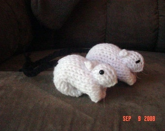 Knitted Gerbil 7 Dark Tailed White