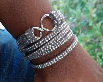 Stackable Wrap Around Silver Studs Faux Suede Cord Gypsy Bangle Bracelet DOUBLE Wrap BOHO Bracelet