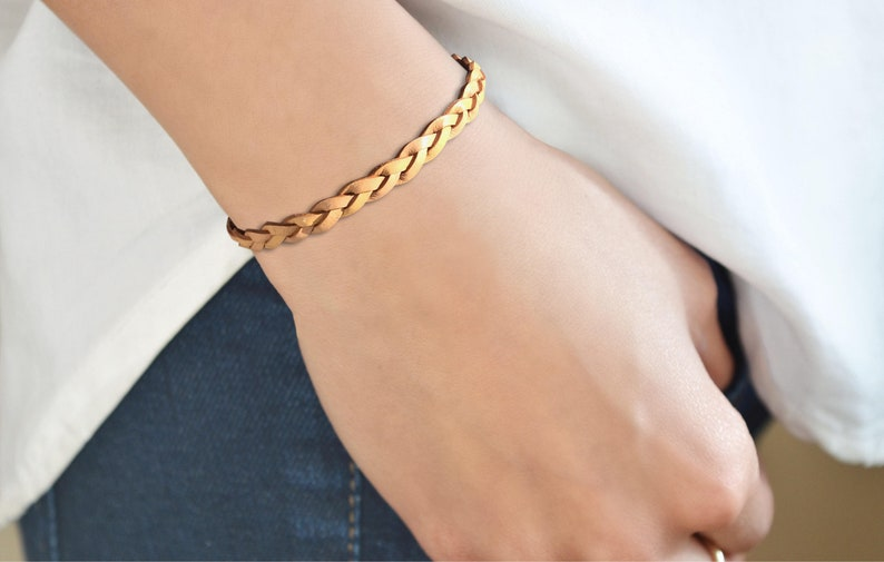 Braided Natural Leather Bracelet Leather Jewelry Braided Natural