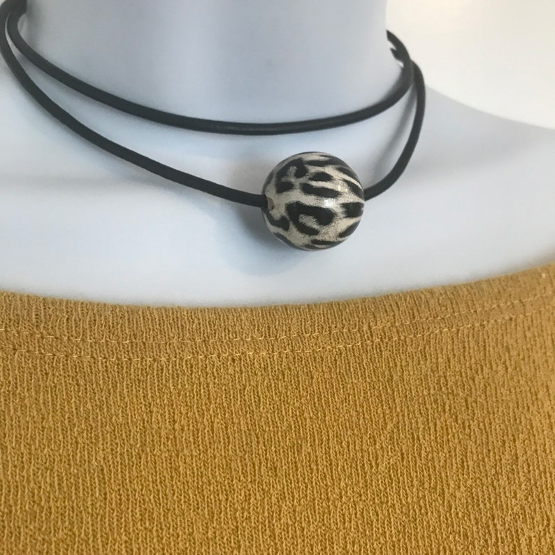 Double Wrap Leather Choker Necklace 25mm Wood Bead Necklace image 0