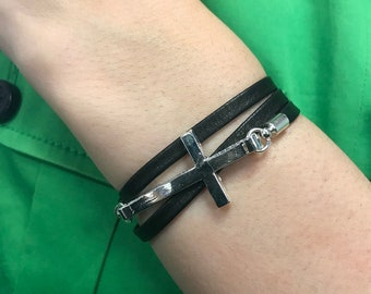Boho Cross Wrap Bracelet, Wrap Bracelet, Leather Bracelet, Cuff Bracelets, Gift for Her,  Boho Bracelet, Bohemian Bracelet, For Wife