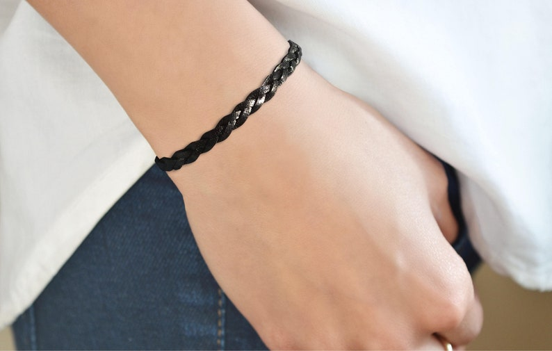 Black Braided Leather Bracelet Leather Jewelry Braided Flat Black