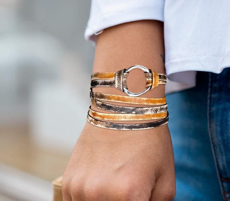 Infinity Circle Wrap Bracelet Leather Jewelry Distressed image 0