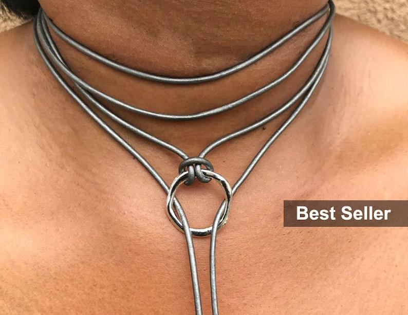 Leather Choker Choker Necklace Boho Choker Wrap Choker image 0