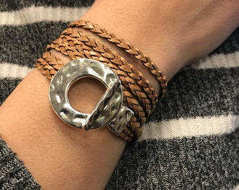 Toggle Circle Wrap Bracelet, Triple Wrap Braided Leather  Leather Jewelry, Braided Flat Leather, Cuff Bracelets, Gift for Her, angles