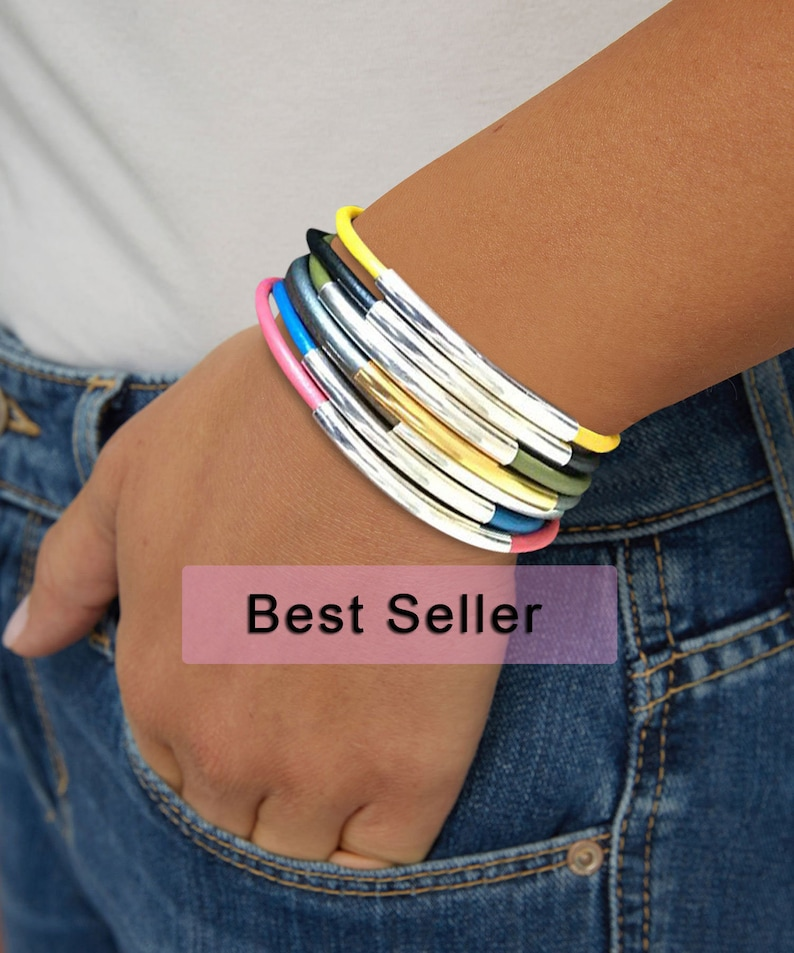 Leather Wrap Bracelets For Women Earthy Wrap Bracelets image 0