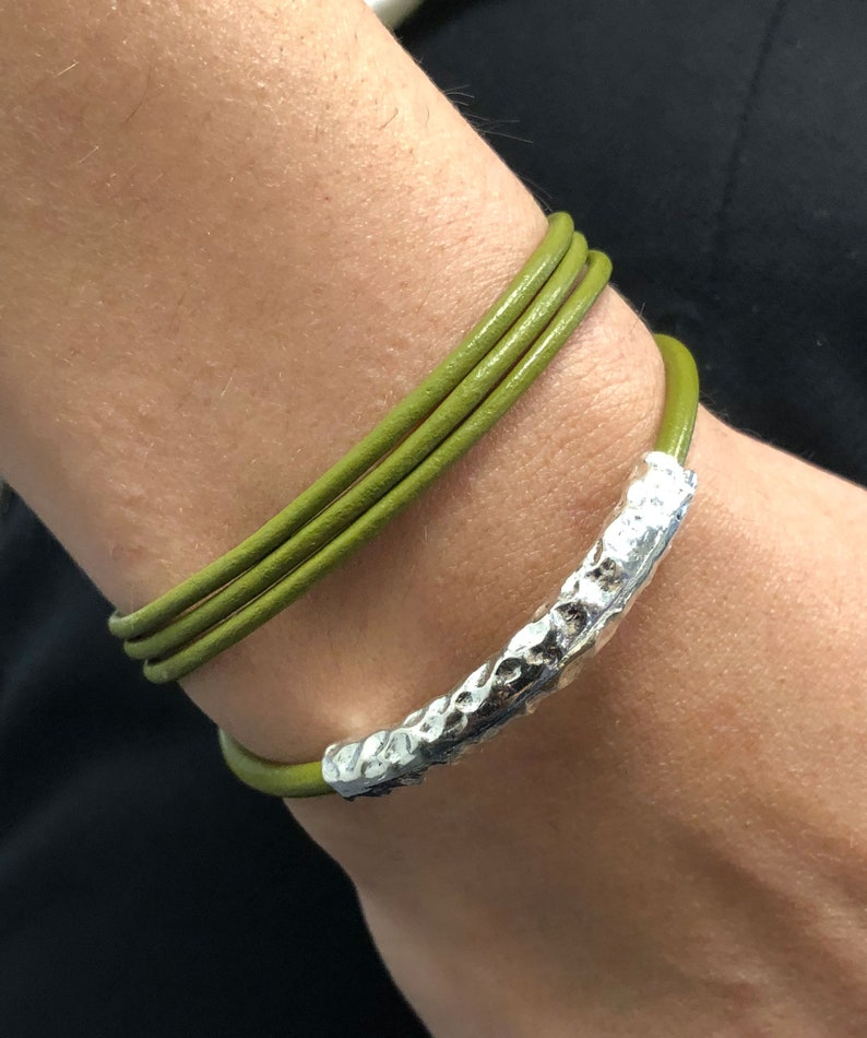 Leather Wrap Bracelets For Women Hammered Earthy Wrap image 0