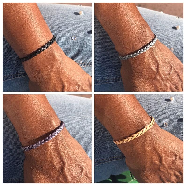 Leather Braided Bracelet Leather Jewelry Braided Flat Gray