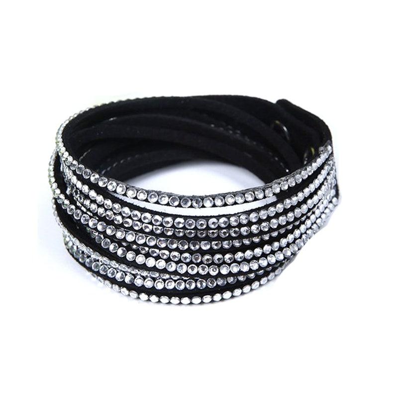 Wrap Bracelet Vegan Bracelet Double Wrap Bracelets with Snap Black w/Clear