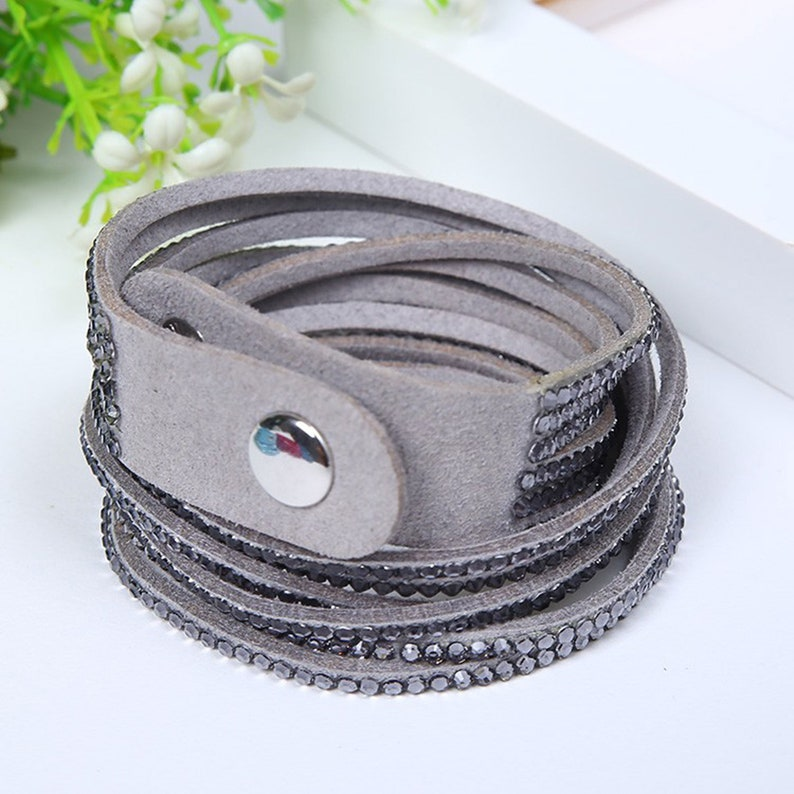 Wrap Bracelet Vegan Bracelet Double Wrap Bracelets with Snap Gray w/Clear