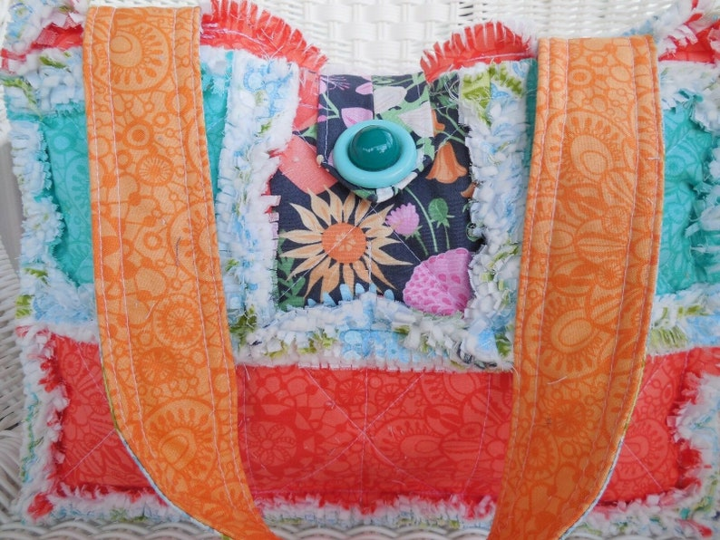 Rag Quilt Purse ~ Honey Honey Teal /& Tangerine ~ Book Tote ~ Spa Bag ~ Lunch Tote ~ Small Animal Carrier ~ Project Tote ~ Small Diaper Bag