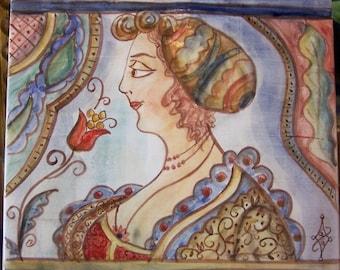 Hand Painted Ceramic Maiolica Tile