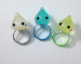 Kawaii Teardrop Adjustable Rings