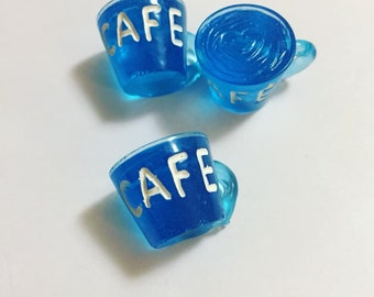 Blue Coffee Cup Resin Pendant Charms