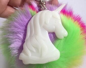 White Unicorn Rainbow Faux Fur Pom Pom Keychain