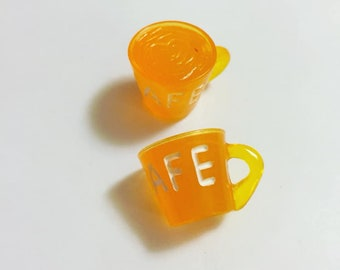 Orange Coffee Cup Resin Pendant Charms