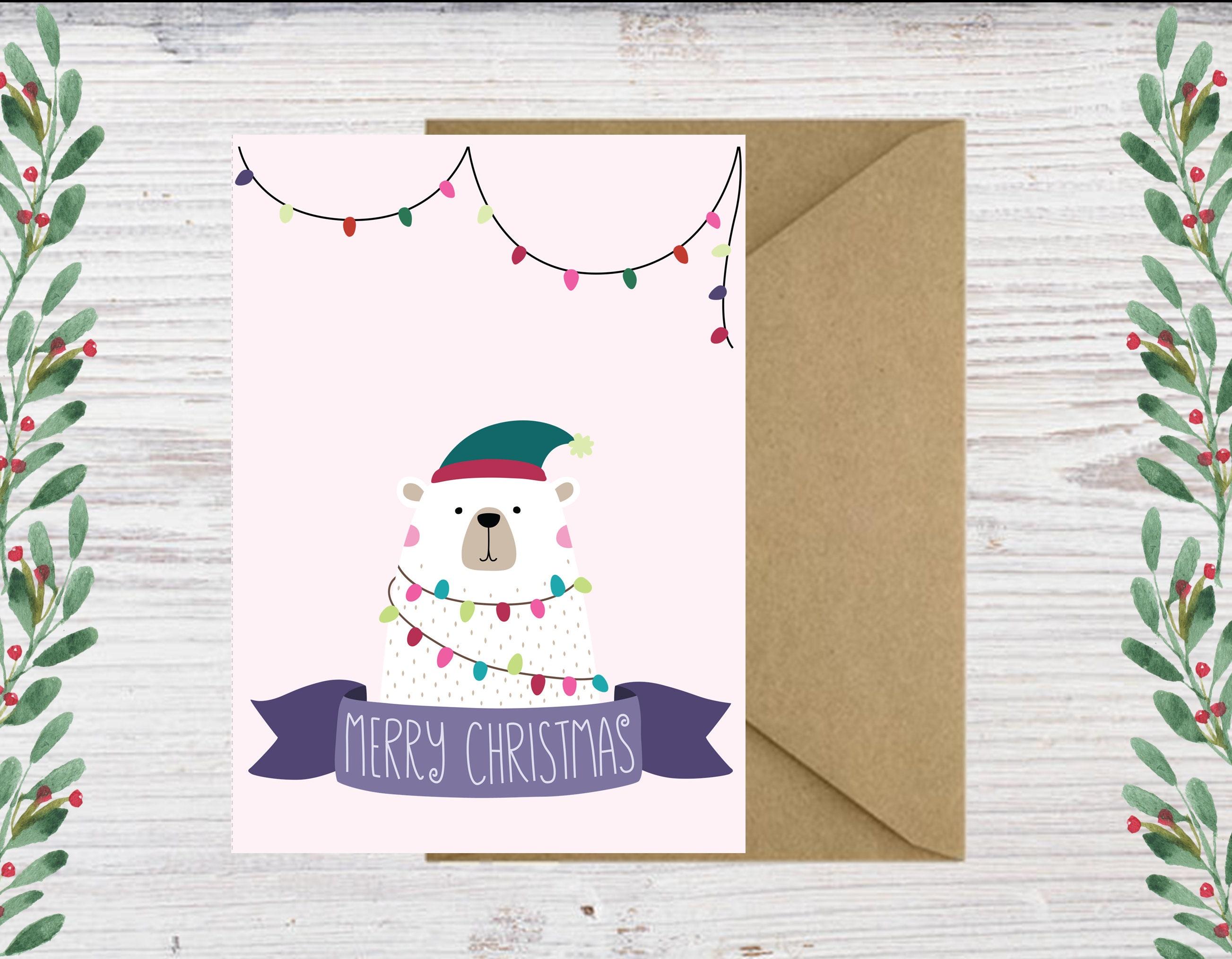 Printable Polar Bear Christmas Cards - Downloadable Christmas Cards ...