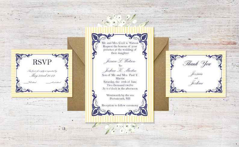 Downloadable Navy and Buttercream Yellow Invitation Suite